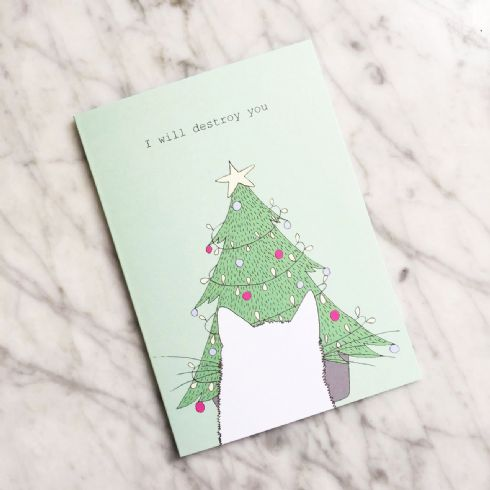 Kay Barker - I Will Destroy You Illustrated Cat Christmas Card